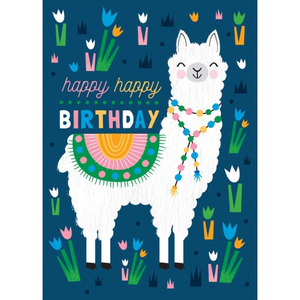 Little Red Owl Greeting Card - Llama Birthday