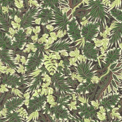 A4 (210 x 297mm) Chiyogami Paper - Green Palm Leaves