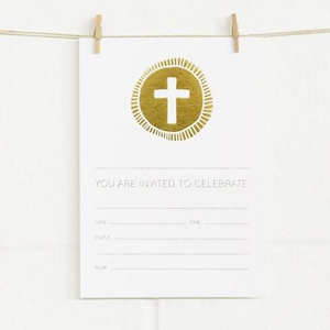 Alex Mae Invite Set - Cross, Gold on White