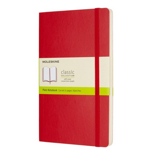Moleskine Soft Cover Notebook - Plain, Large, Red | Moleskine | Paperpoint Stationery South Melbourne