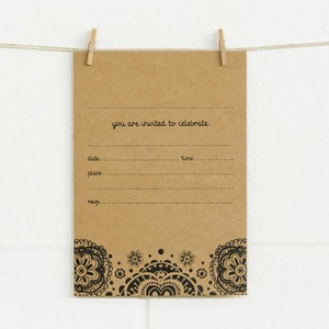 Alex Mae Invite Set - Doily Black On Kraft | Alex Mae | Paperpoint Stationery South Melbourne