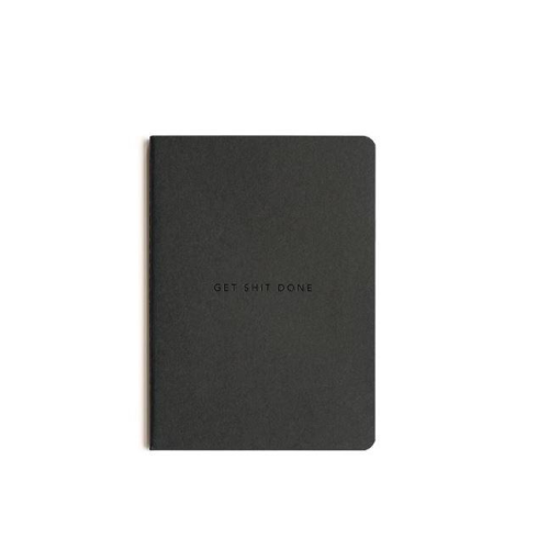 MiGoals Get Shit Done Notebook - A6, Minimal,  Black/Black Foil | MiGoals | Paperpoint Stationery South Melbourne