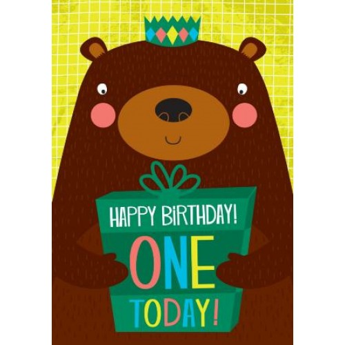 Little Red Owl Greeting Card - 1st Birthday Bear | Little Red Owl | Paperpoint Stationery South Melbourne