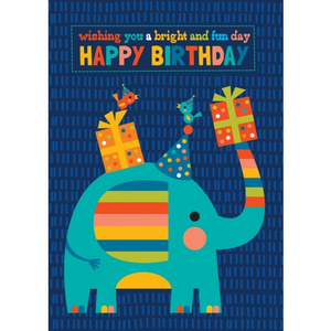 Little Red Owl Greeting Card - Bright Elephant Birthday | Little Red Owl | Paperpoint Stationery South Melbourne