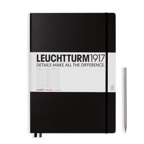 Leuchtturm1917 Notebook - Ruled, A4+, Black | Leuchtturm1917 | Paperpoint Stationery South Melbourne