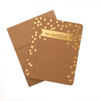 hiPP Invitation Set - Confetti Kraft & Gold | HiPP | Paperpoint Stationery South Melbourne