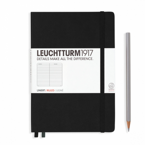 Leuchtturm1917 Notebook - Ruled, A5, Black | Leuchtturm1917 | Paperpoint Stationery South Melbourne