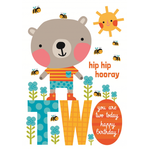 Little Red Owl Greeting Card -  2nd Birthday Bear | Little Red Owl | Paperpoint Stationery South Melbourne