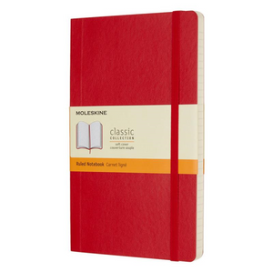 Moleskine Soft Cover Notebook - Ruled, Large, Scarlet Red | Moleskine | Paperpoint Stationery South Melbourne