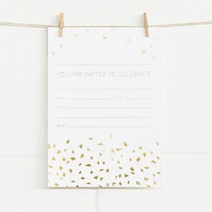 Alex Mae Invite Set - Confetti Gold/White