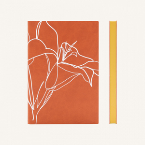 Daycraft Signature Floral Doodle Notebook - Plain, A5, Rusty Lily
