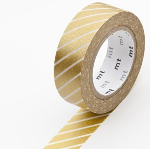MT Tape Single Roll - Stripe Gold | MT | Paperpoint Stationery South Melbourne