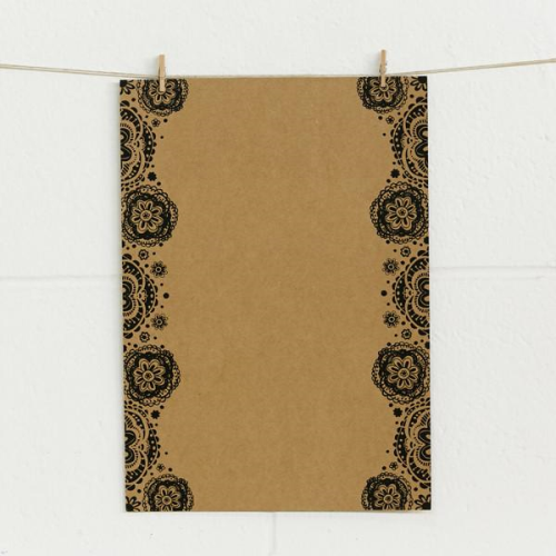 A4 (210 x297mm) Alex Mae Paper - Doily, Black on Kraft | Alex Mae | Paperpoint Stationery South Melbourne