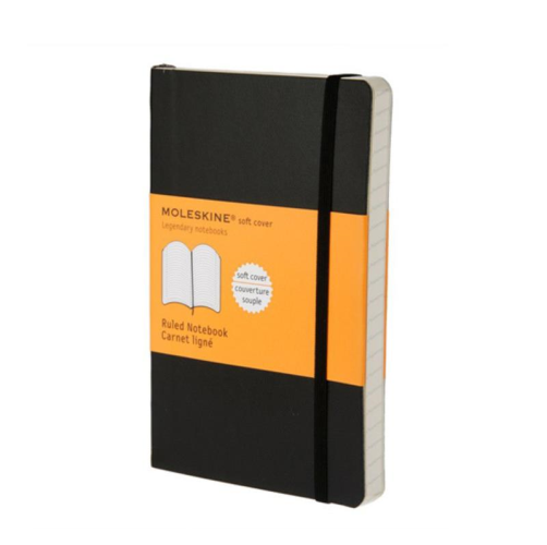 Moleskine Soft Cover Notebook - Ruled, Pocket, Black | Moleskine | Paperpoint Stationery South Melbourne