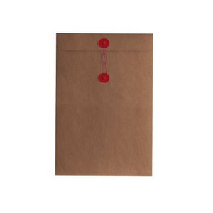 Button & String Envelope - C6 (114 x 162mm), Kraft/Red B&S | Button & String | Paperpoint Stationery South Melbourne