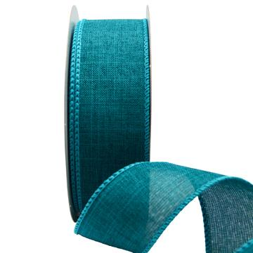 Ribbon: 38mm Wire Edge Plain Weave - Teal (per metre)