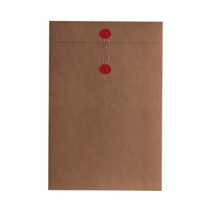 Button & String Envelope - C5 (162 x 229mm), Kraft/Red B&S | Button & String | Paperpoint Stationery South Melbourne
