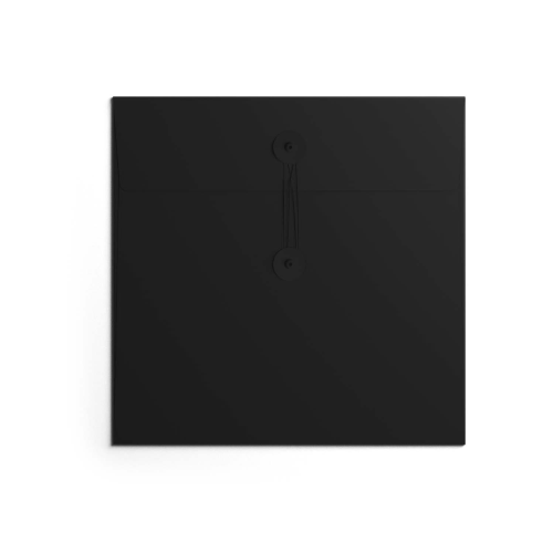 Button & String Envelope - 150mm Square, Black/Black B&S