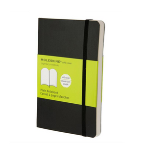 Moleskine Soft Cover Notebook - Plain, Pocket, Black | Moleskine | Paperpoint Stationery South Melbourne