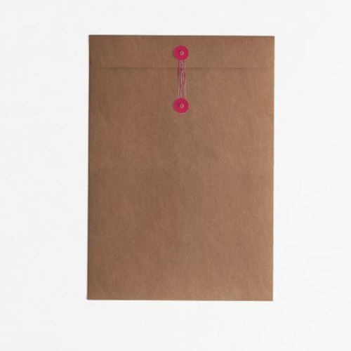 Button & String Envelope - C4 (229 x 324mm), Kraft/Red B&S | Button & String | Paperpoint Stationery South Melbourne