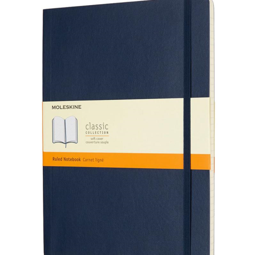 Moleskine Soft Cover Notebook - Ruled, Extra Large, Sapphire Blue | Moleskine | Paperpoint Stationery South Melbourne