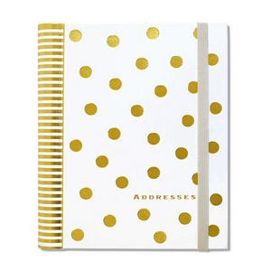 Address Book - Large, Gold Dots