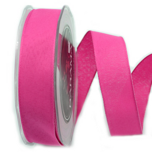 Ribbon: 25mm Woven Edge Linen - Fuschia (per metre)