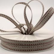 Ribbon: 10mm Double Stitch Linen - Red (per metre)