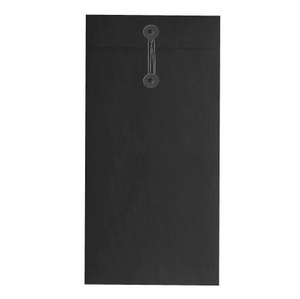 Button & String Envelope - DL (110x 220mm), Black/Black B&S | Button & String | Paperpoint Stationery South Melbourne