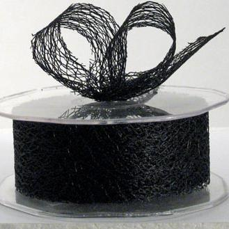 Ribbon: 38mm Open Mesh - Black (per metre)
