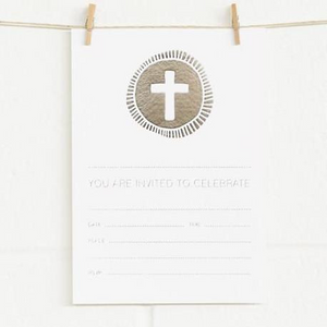 Alex Mae Invite Set - Cross, Silver on White