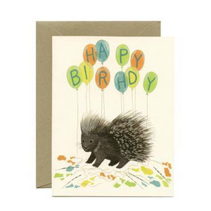 Yeppie Paper Greeting Card - Porcupine Balloons
