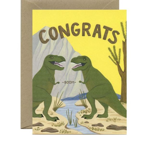 Yeppie Paper Greeting Card - T-rex Fist Bump