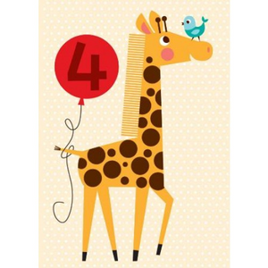 Little Red Owl Greeting Card - 4th Birthday Giraffe | Little Red Owl | Paperpoint Stationery South Melbourne