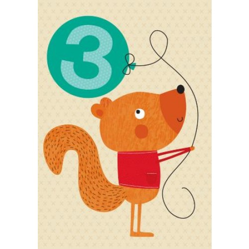 Little Red Owl Greeting Card - 3rd Birthday Squirrel | Little Red Owl | Paperpoint Stationery South Melbourne