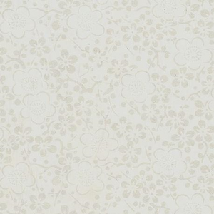 A4 (210 x 297mm) Chiyogami Paper - Gold Blossoms on White Background