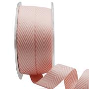 Ribbon: 19mm Woven V Stripe - Pink/White (per metre)
