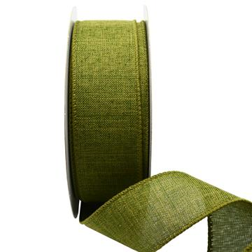 Ribbon: 38mm Wire Edge Plain Weave - Moss (per metre)