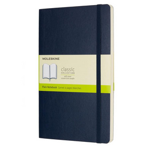 Moleskine Soft Cover Notebook - Plain, Large, Sapphire Blue | Moleskine | Paperpoint Stationery South Melbourne