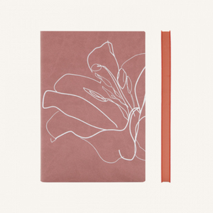 Daycraft Signature Floral Doodle Notebook - Plain, A5, Dusty Pink Eustoma