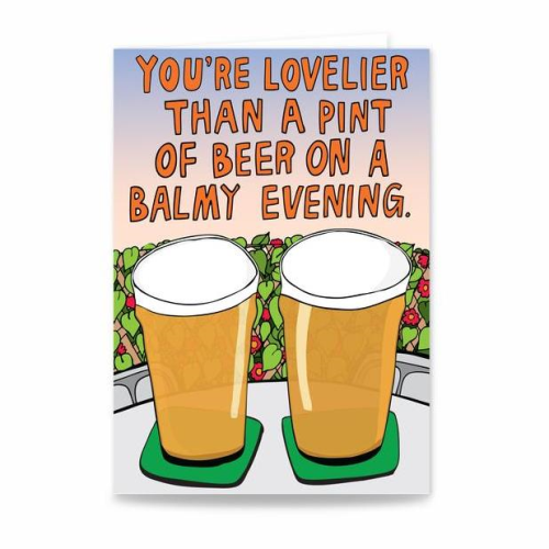 Able & Game Greeting Card - You're Lovelier than a Pint of Beer
