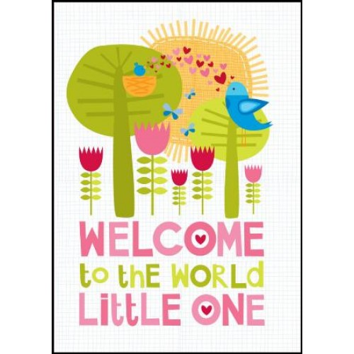 Little Red Owl Greeting Card - Welcome to the World Little One, Girl | Little Red Owl | Paperpoint Stationery South Melbourne