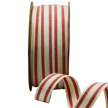 Ribbon: 15mm Summer Canvas Stripe - Red (per metre)