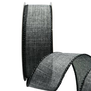 Ribbon: 38mm Wire Edge Plain Weave - Grey (per metre)