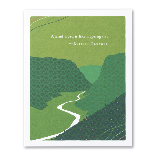 Positively Green Greeting Card - A kind word is like a spring day.