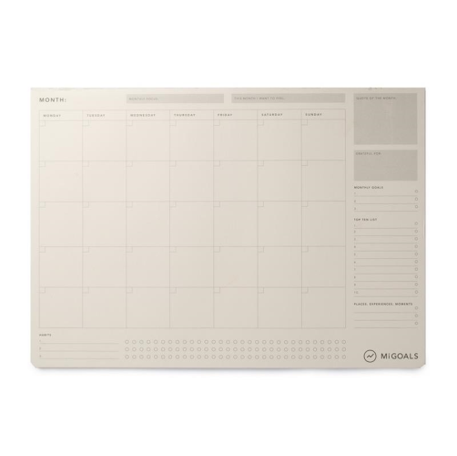 MiGoals Desk Pad - Monthly, A3