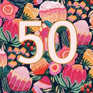 Kirsten Katz Greeting Card - Australian Flowers 50th Birthday