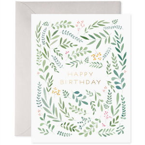 E Frances Greeting Card - Pretty Leaves Birthday