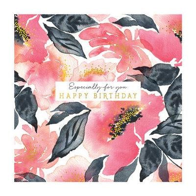 The Art File Greeting Card - Natural Phenomenon, Pink Watercolour Flowers