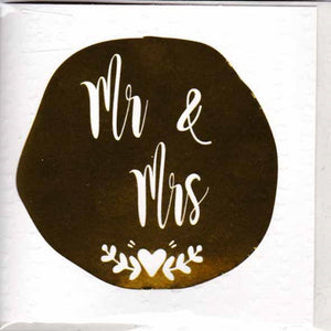 Paper Street Greeting Card - Mr & Mrs, Gold Foil Dot